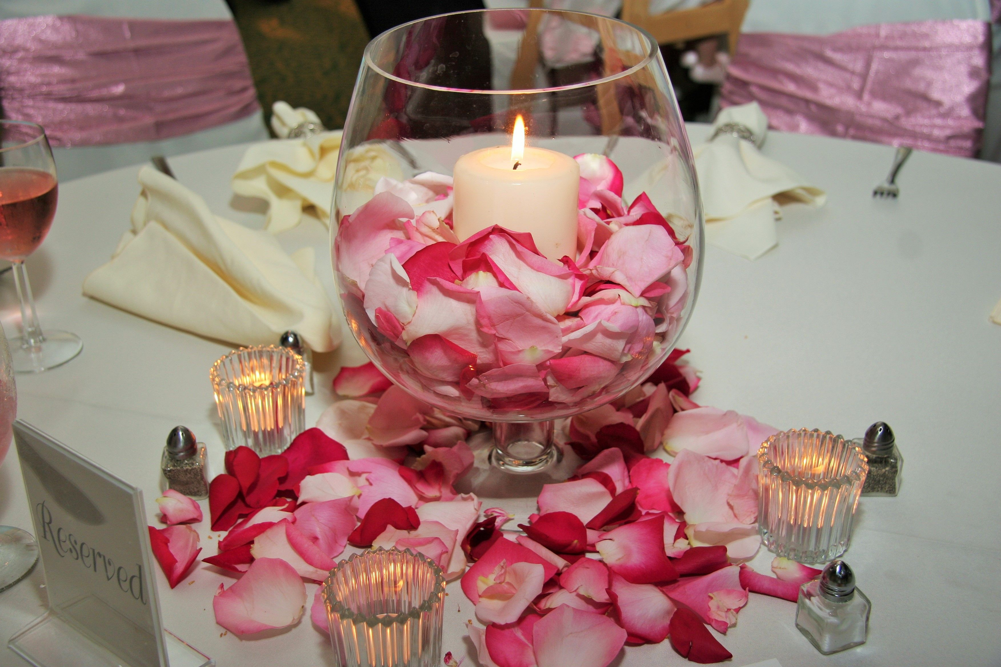 Glass Vase Candle Holder Wedding Centerpiece surrounded by Rose ...