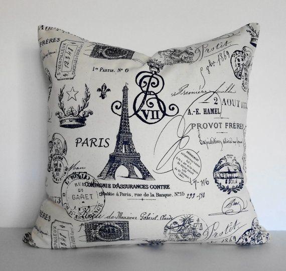 Paris Eiffel Tower Pillow 16 X 16: Shabby Chic Eiffel Tower Decorative Pillow Cushion, French
