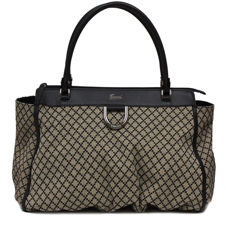59d9f54c8be Gucci Diamante Beige Nero Black Leather Canvas Top Handle Shoulder Handbag  Bag 341491