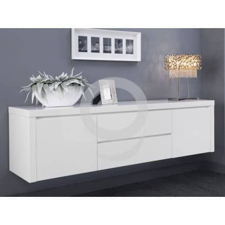 sideboard h ngend lack wei 190 cm hochglanz softclose mit selbsteinzugein sideboard in. Black Bedroom Furniture Sets. Home Design Ideas