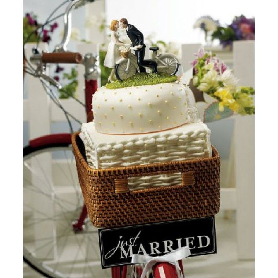 A Kiss Above Bicycle Bride Groom Wedding Cake Topper