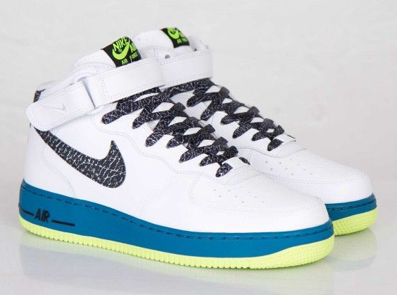 Nike Air Force 1 Mid White Black Green Abyss Volt