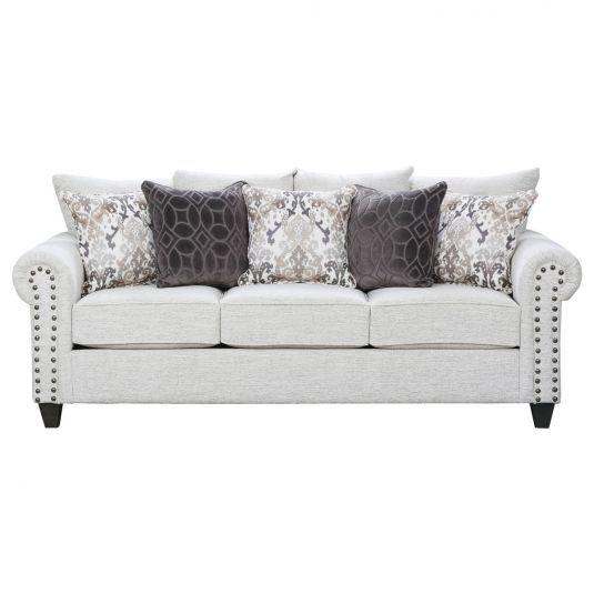 Modern Farmhouse Style Coastal White Sofa Transitional Sofa White Couch Sofa Furniture Rolled Arm Sofa