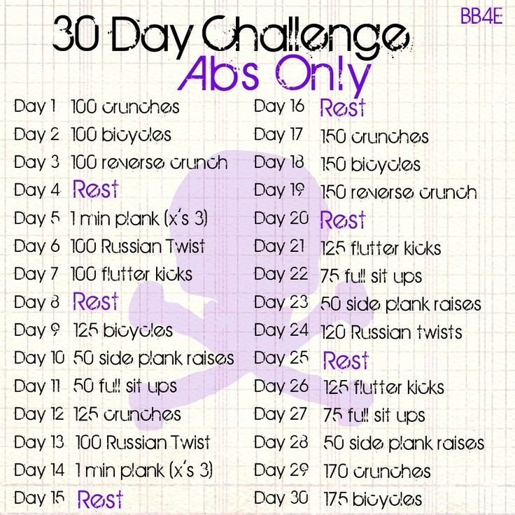 30 day ab challenge calendar for women abs only 30 day challenge body and fitness abs. Black Bedroom Furniture Sets. Home Design Ideas