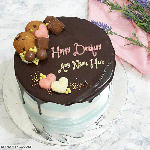 Cute Dark Chocolate Birthday Cake With Name HBD Cake Pinterest
