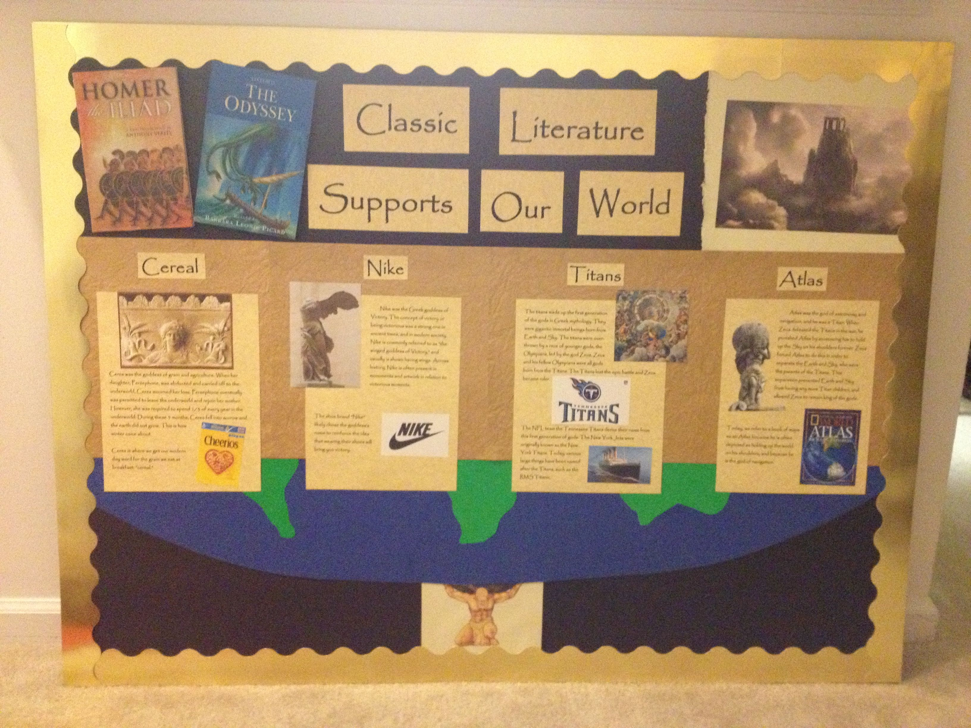 English Classroom bulletin board -- Uses contemporary examples drawn ...