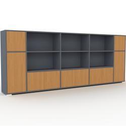 Photo of Wohnwand Anthrazit – Individuelle Designer-Regalwand: Türen in Eiche – Hochwertige Materialien – 303