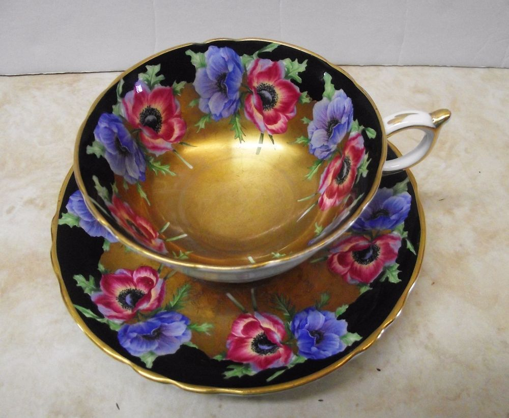 Royal albert bone china tea cup amp saucer winsome pattern ebay - Vtg Paragon 1940 S Tea Cup Saucer Blue Pink Poppies Gold Black Background Ebay
