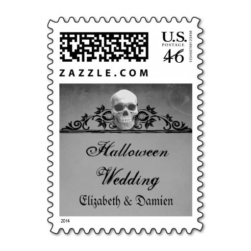 Skull Frame Halloween Wedding Postage