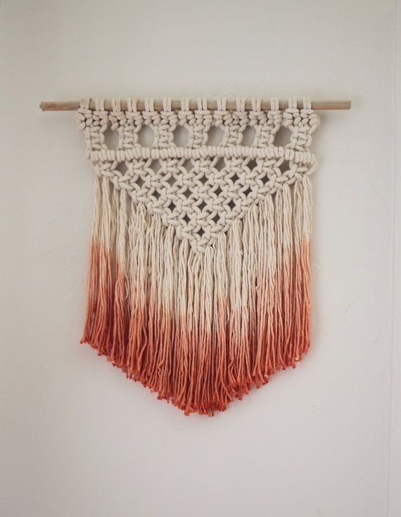 Wall Hangings Etsy dip dyed macrame wall hanging - peach | macrame wall hangings