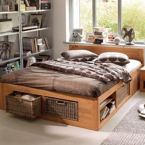 lit en bois avec rangement lit double