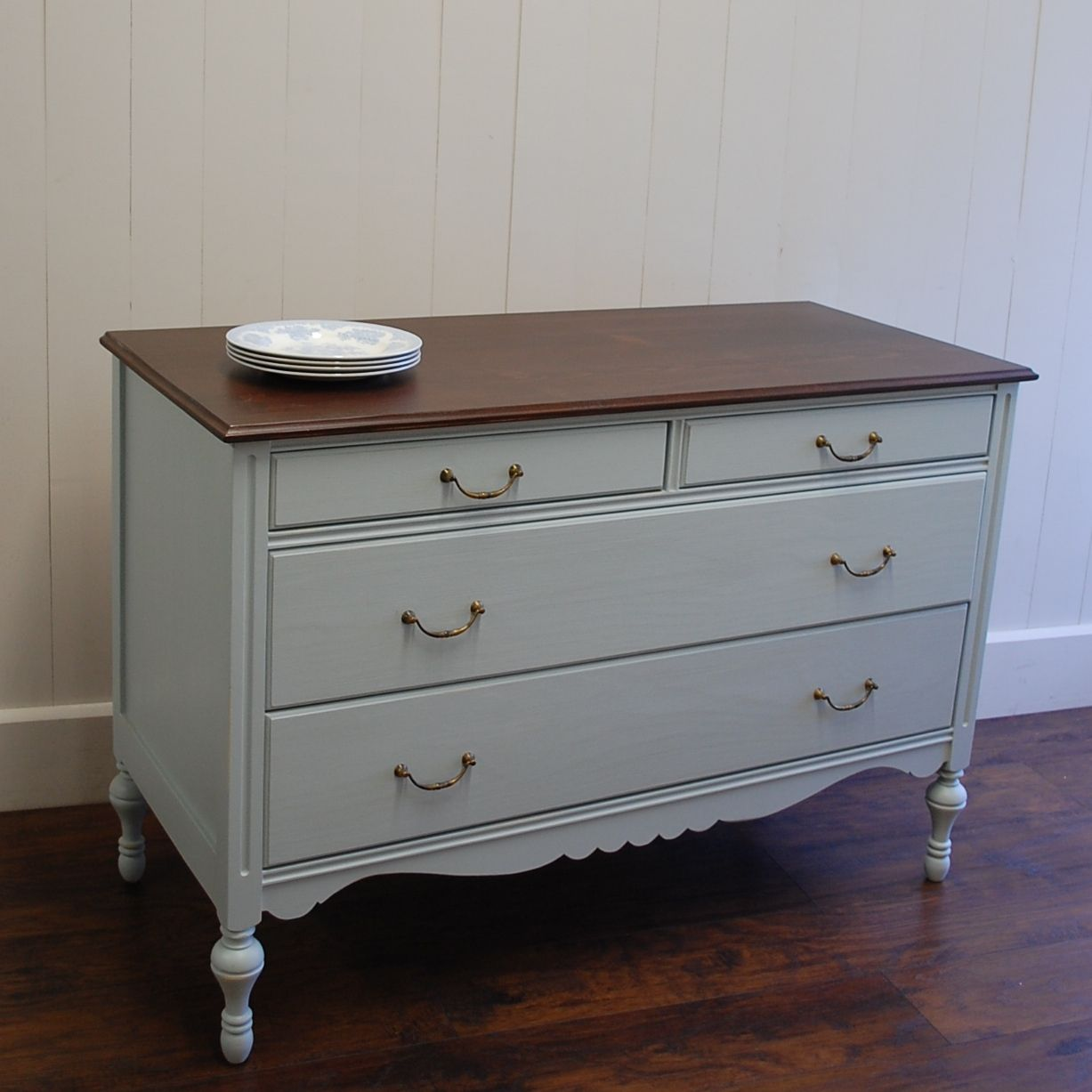 Our Eloise Linen Dresser In Blue Gray With Brown Walnut Top Vintage Br Hardware