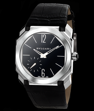 Bulgari Octo Finissimo, hand-wound manufacture caliber. Platinum. Available at Cellini Jewelers NYC