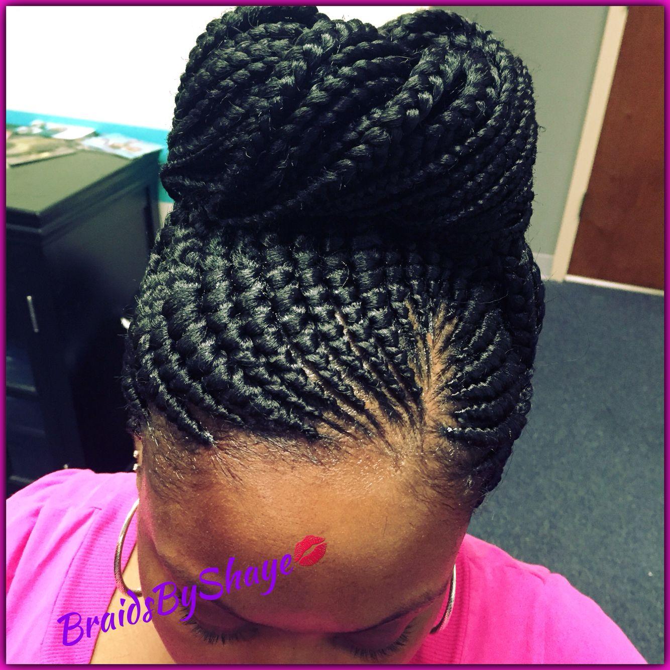 Small Braid Ghana Bun Hair Styles Braided Hairdo Small Braids