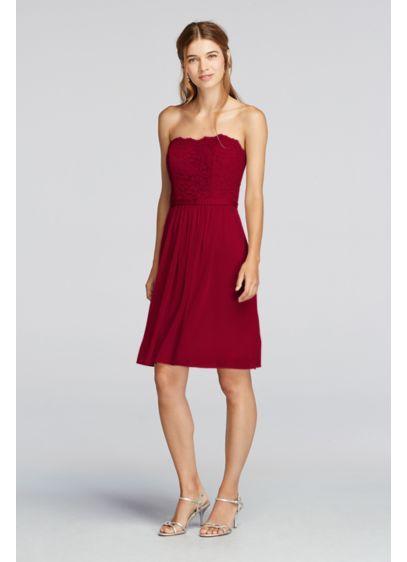 22270a995030 Short Scalloped Strapless Lace Mesh Dress F18094   Wedding ideas ...