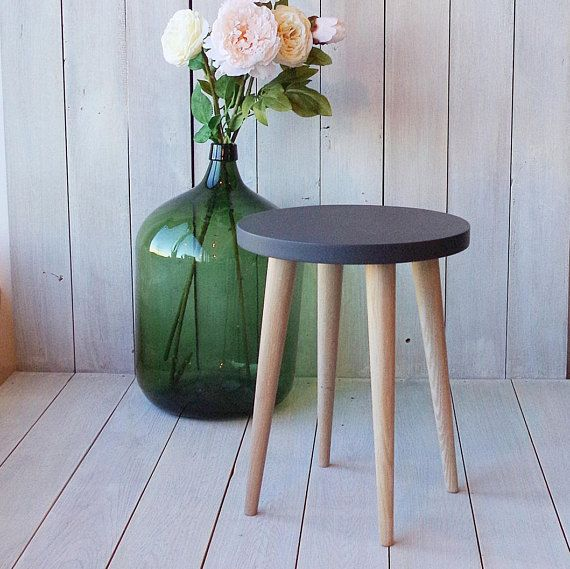 Dark Grey Top Round Side Table Stool Coffee Table Round Small Table Wood  Stool Scandinavian Style Black Top Stool Bedroom ALD 0003B