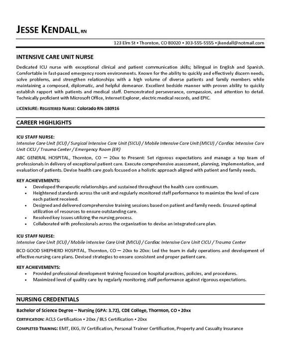 Free ICU   Intensive Care Unit Nurse Resume Example | Luv A Nurse |  Pinterest | Nursing Resume, Intensive Care Unit And Resume Objective  Staff Nurse Resume