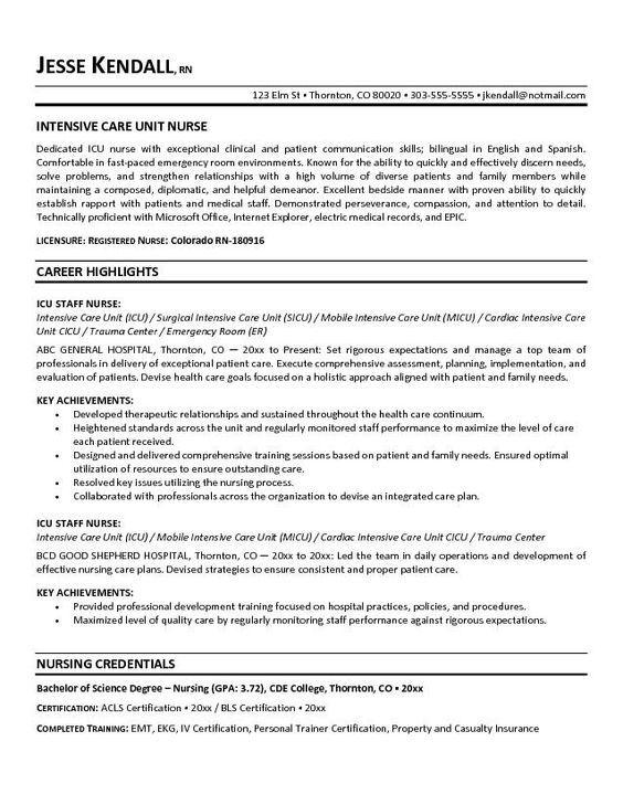 Free Icu Intensive Care Unit Nurse Resume Example Registered Nurse Resume Rn Resume Nursing Resume
