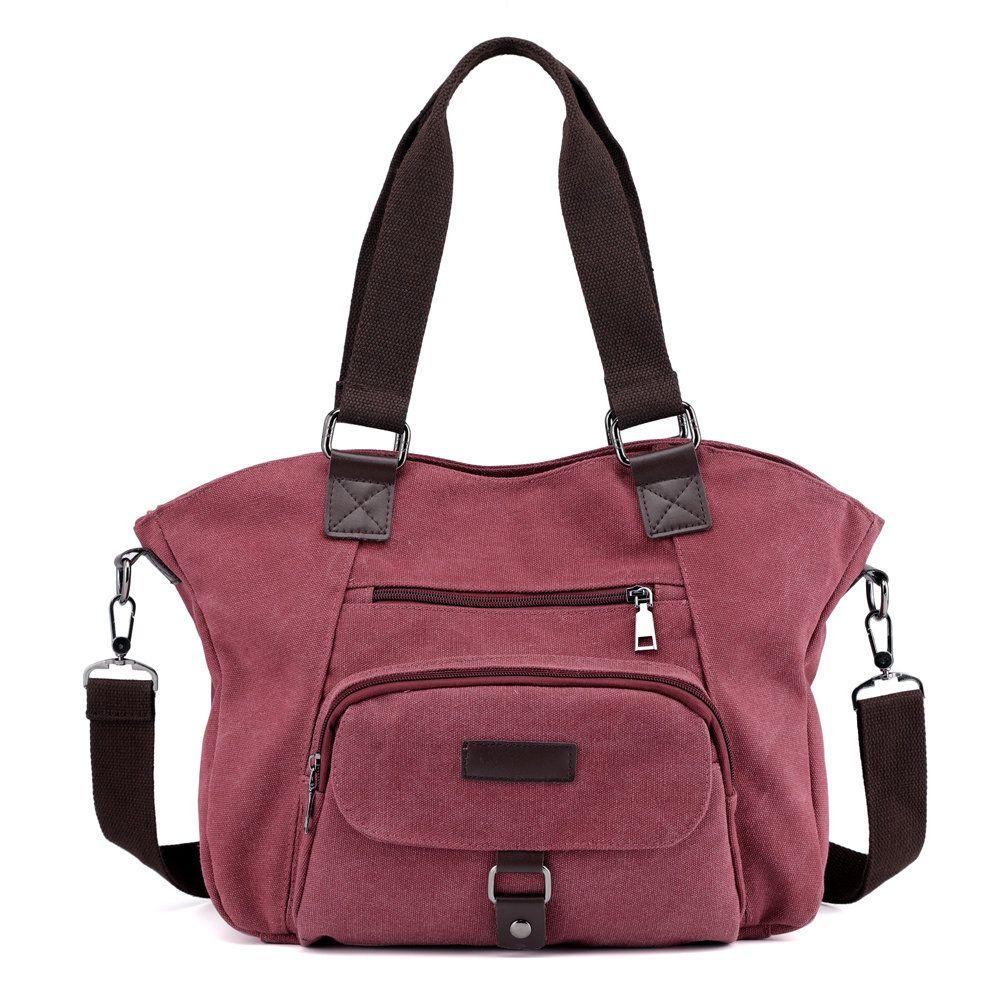 834b26048e69 KVKY Front Pockets Handbags Vintage Canvas Shoulder Bags Summer ...