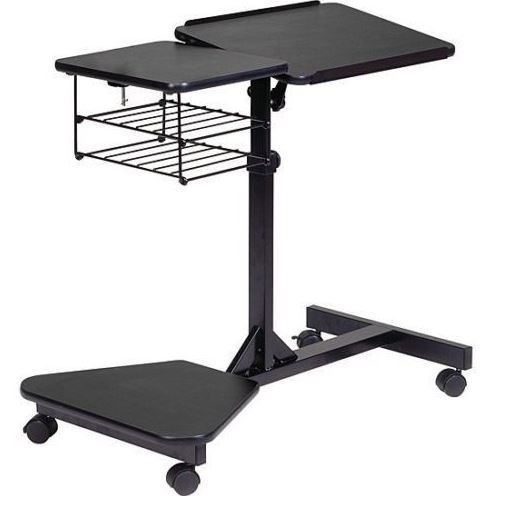 small rolling office table mobile laptop stand cart desk computer portable adjustable depot work tables