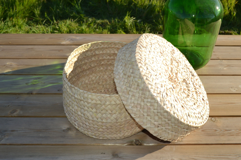 Round Palm Basket Box Palm Box Sewing Palm Basket Box