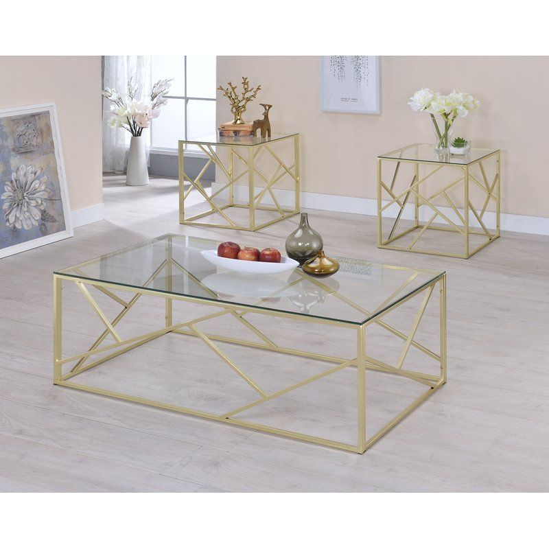 Strudwick 3 Piece Coffee Table Set Coffee Table Glass Accent