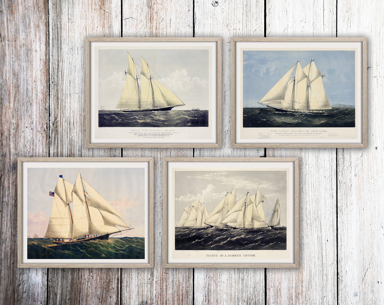 Nautical Poster Set Of 4 Vintage Style Yacht Prints Ship Decor Etsy Nautical Wall Art Nautical Posters Sailing Art