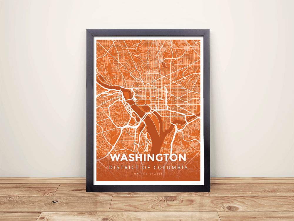 Check it out here httpshopmapprintscoproductsframed map poster of washington d c modern burnt washington d c map artutmcampaignu003d