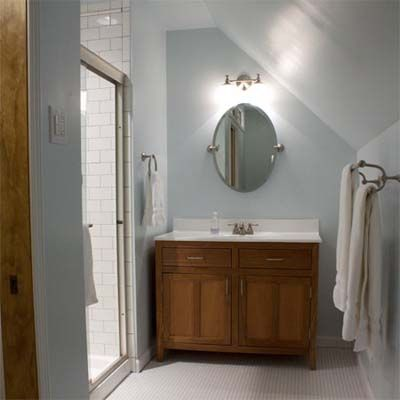 Best bath before and afters 2010 bathroom ideas best for Small bathroom with sloped ceiling