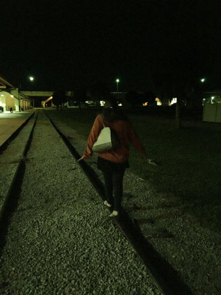 Natalie crist walking the rails while trying to connect