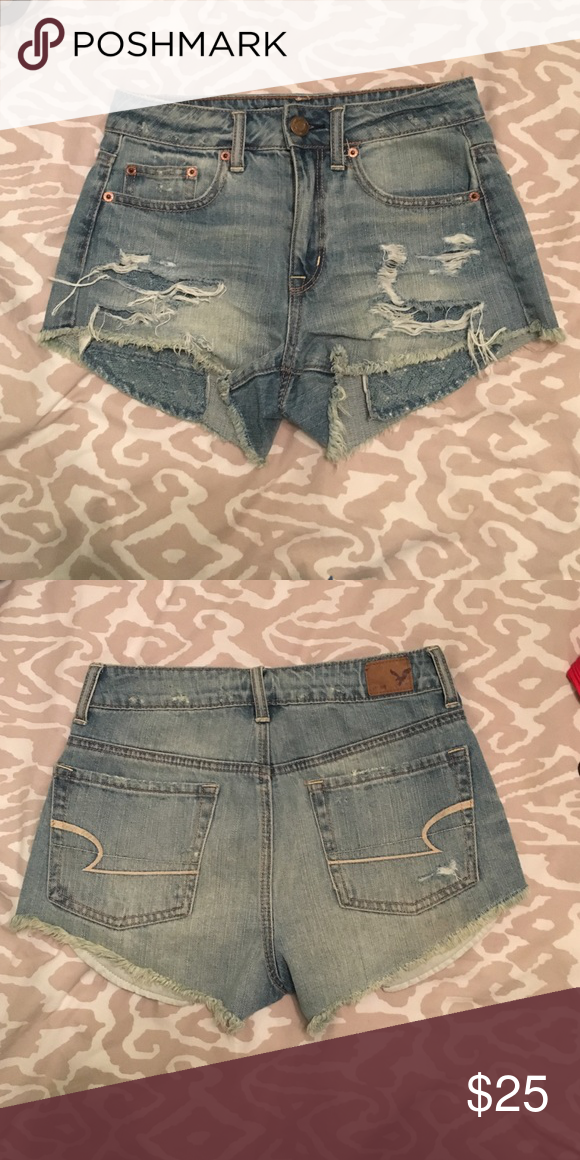 American Eagle High Waisted Shorts in Medium Wash Worn once in perfect condition American Eagle Outfitters Shorts Jean Shorts