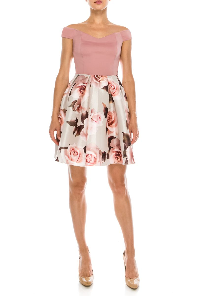 Pink rose ivory rose off shoulder sweetheart short dress classic