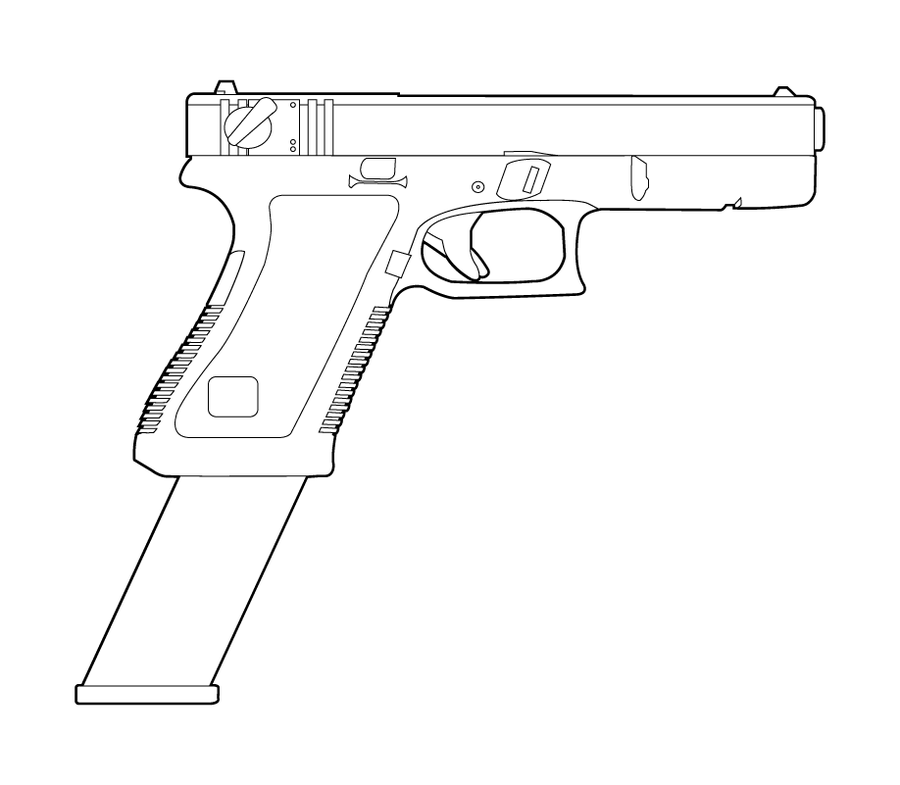 glock 18 lineart by masterchieffox on deviantart