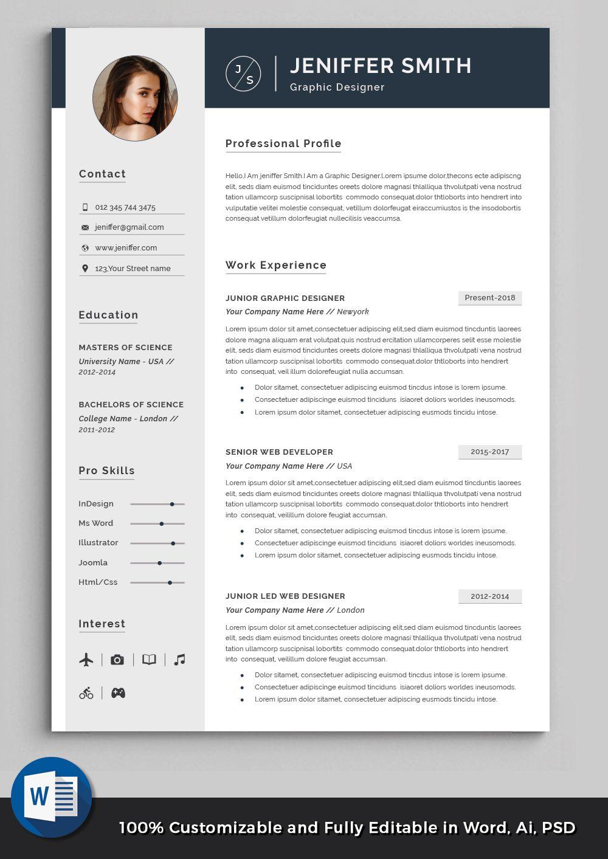 Professional Resume Template Minimalist Resume Clean Modern Cv