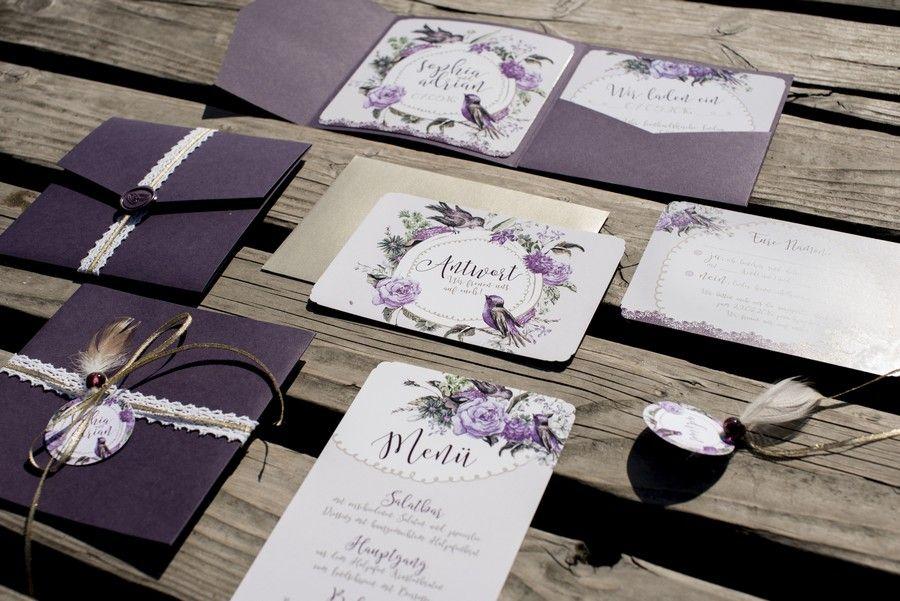 Hochzeitspapeterie Mit Einladung Und Menu Im Vintage Stil Mit