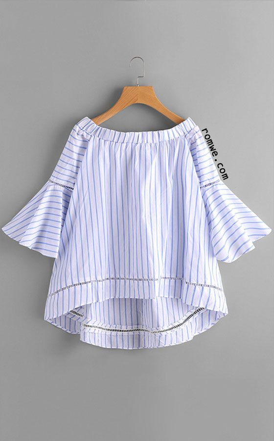 bc7c05726262 Blue Striped Off The Shoulder High-low Blouse