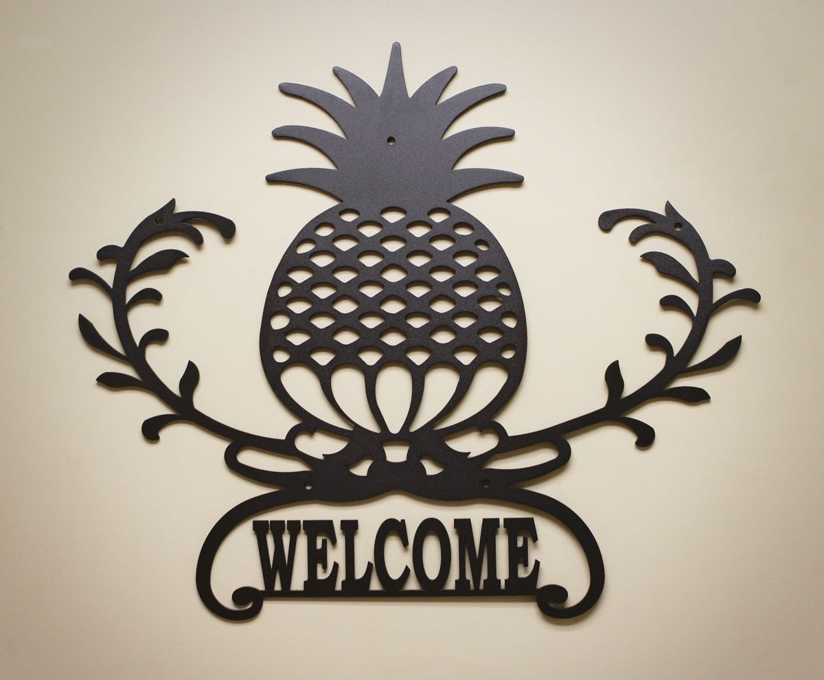 Personalized Metal Wall Art pineapple welcome metal wall art. can be customized with your name