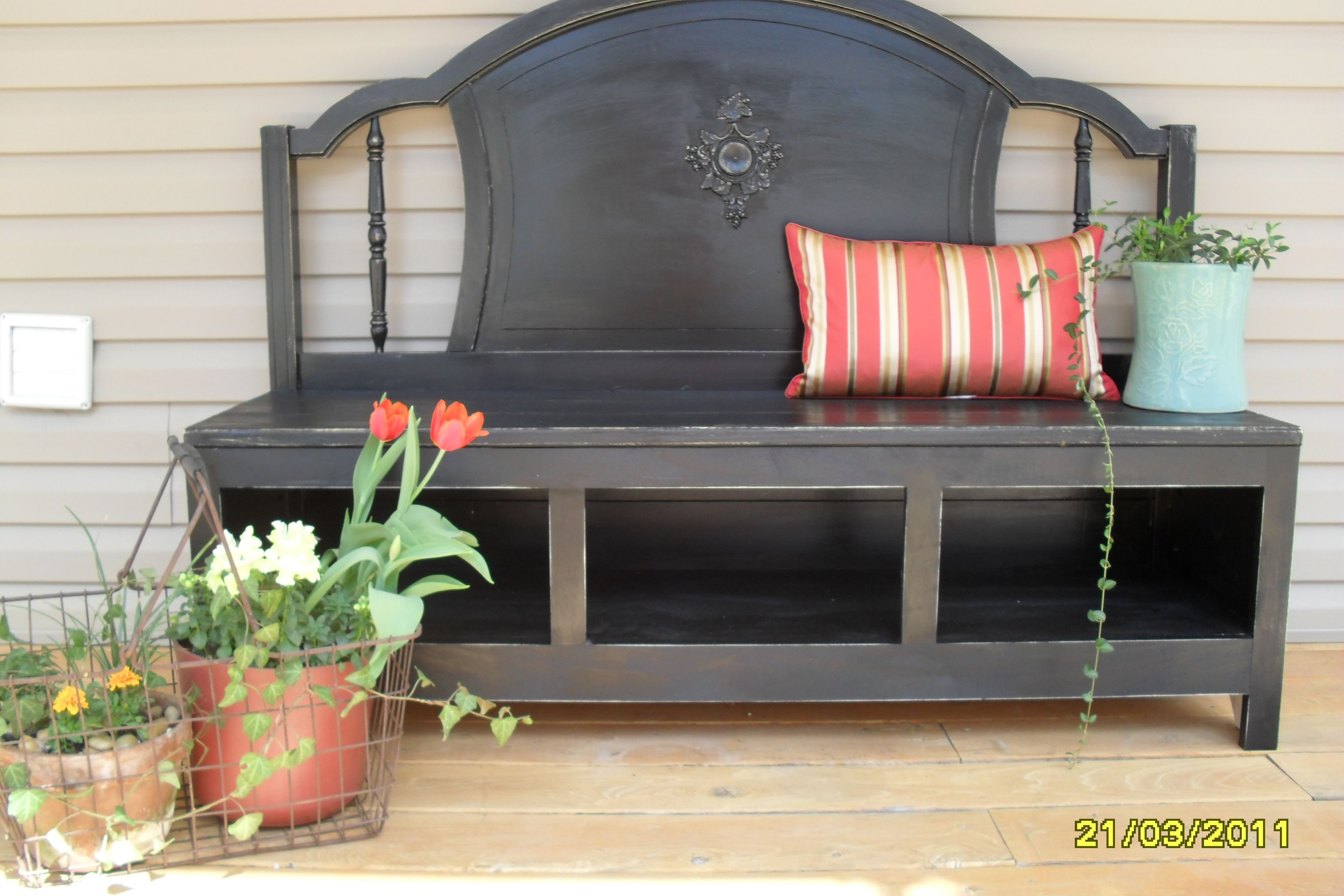 another headboard bench idea for the eating
