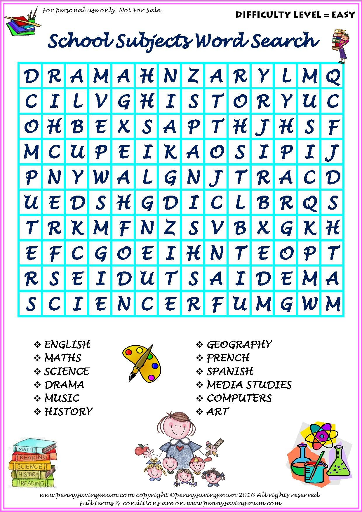 Word Search School Subjects (Easy Version) | Penny Saving Mum Word ...