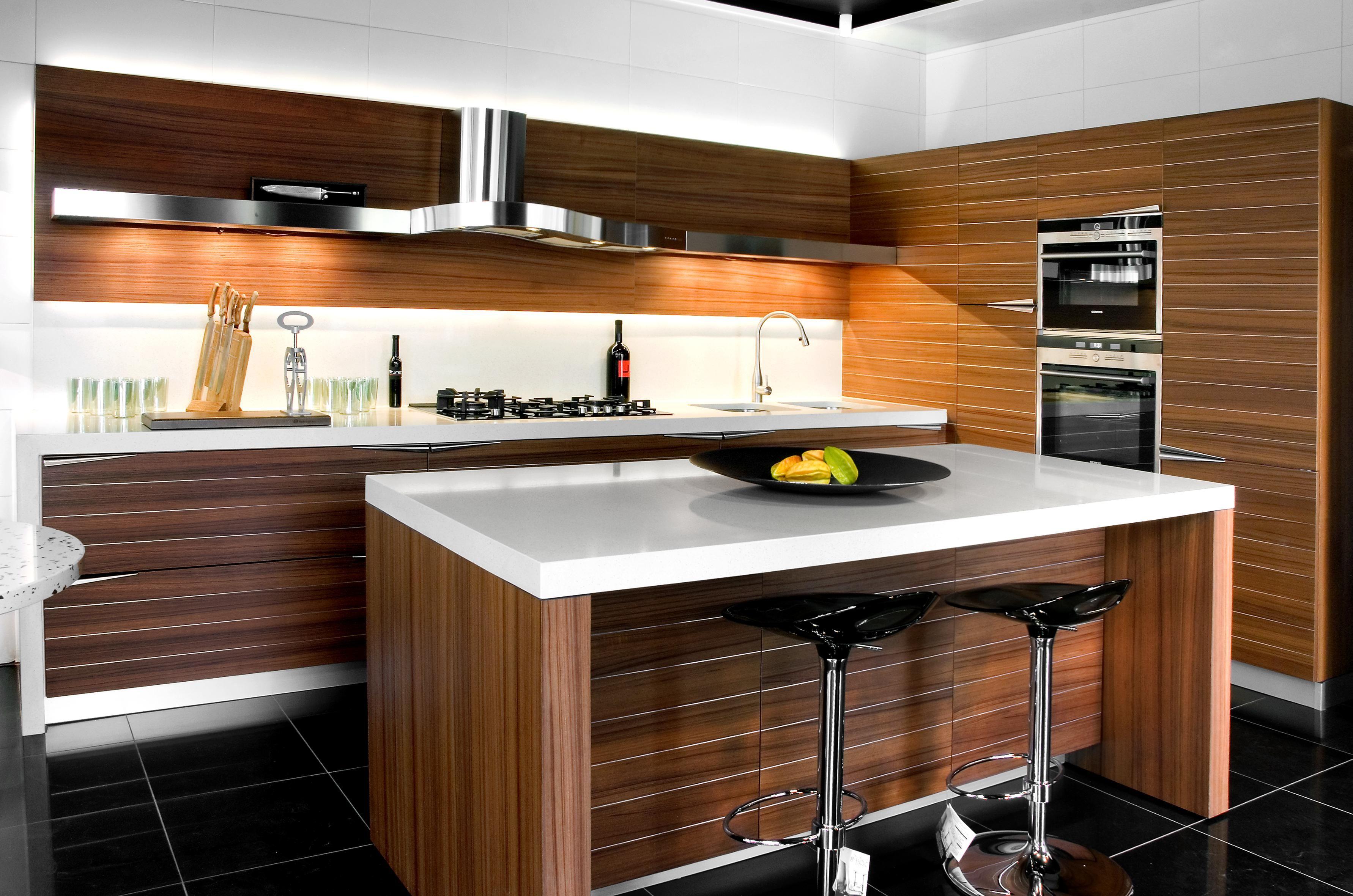 Kitchens TIME Teak wood with horizonal metal