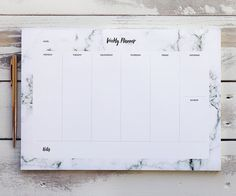 weekly planner pad marble desk pad a4 daily by blossomstudiouk rh pinterest com