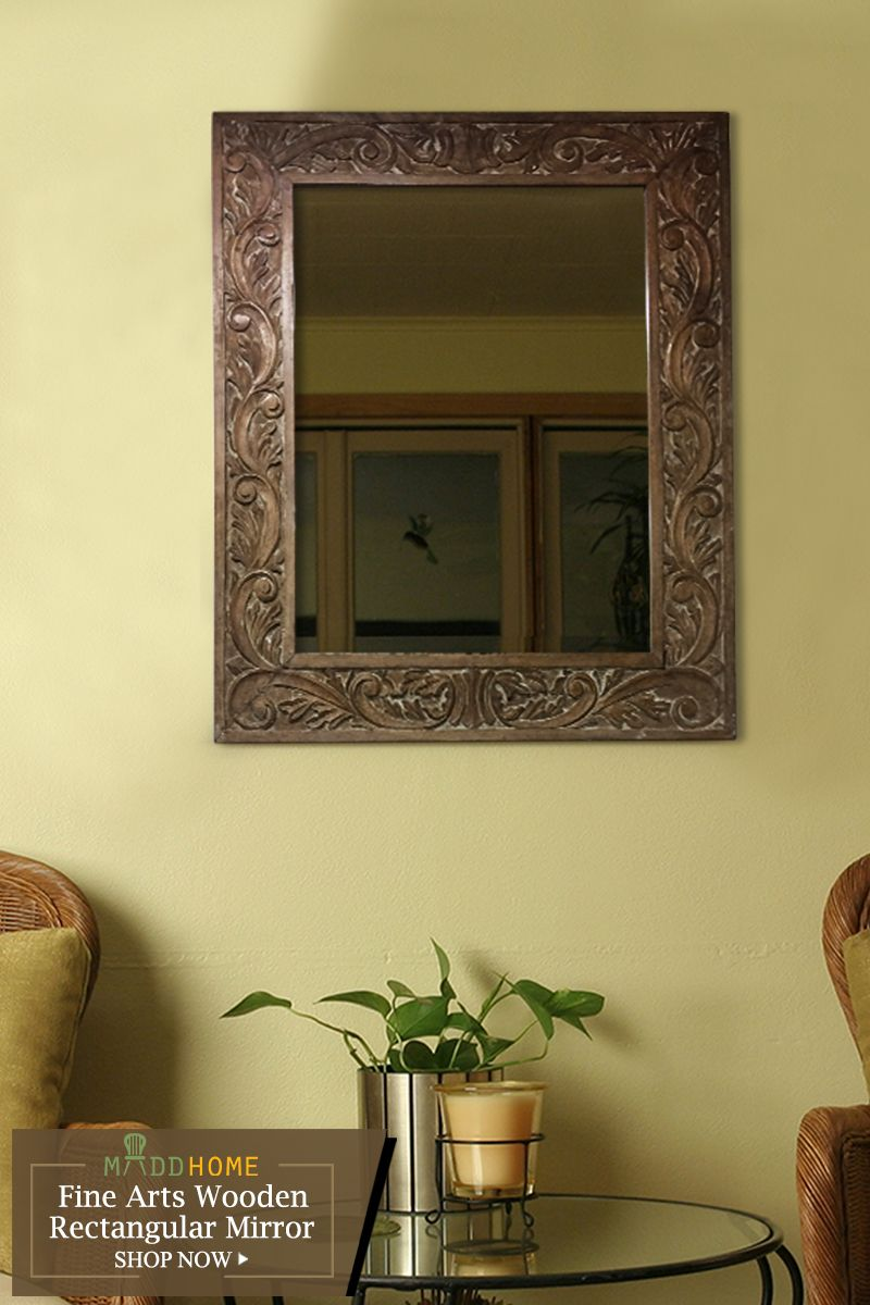 Fine Arts Wooden Rectangular Mirror | Living spaces, Decorative ...
