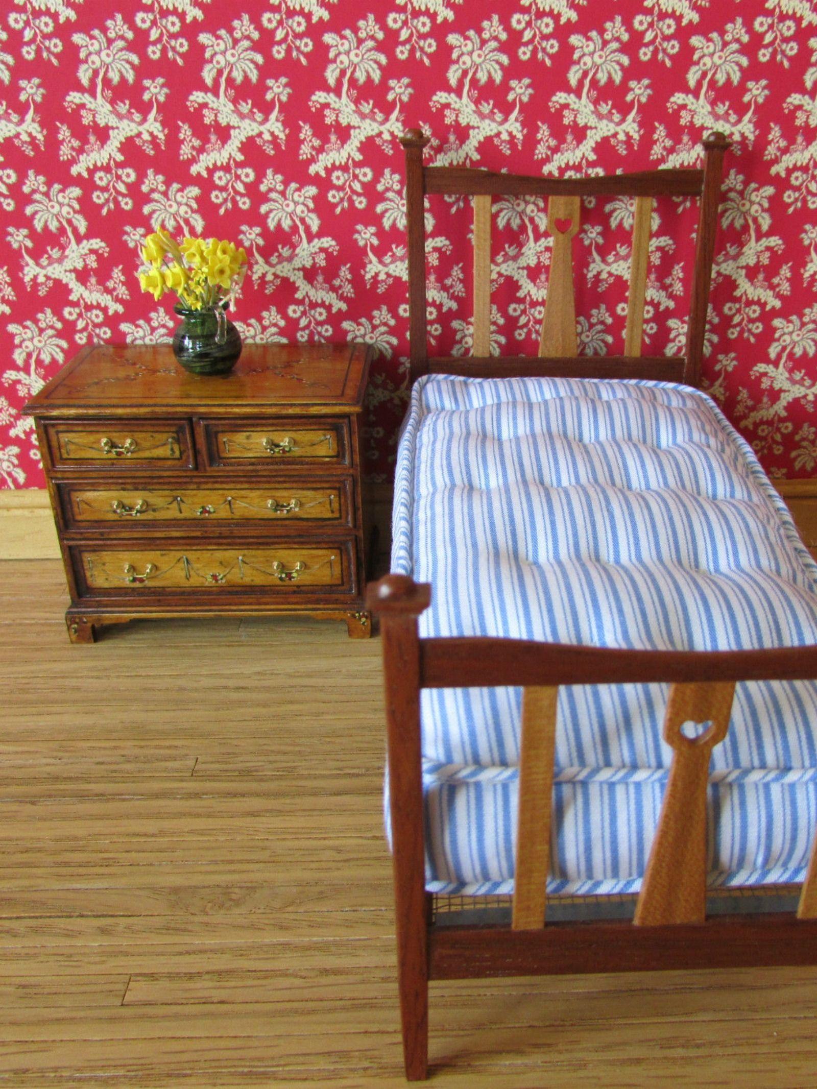 Dolls House Miniature Bedroom Furniture 1:12th Scale Mahogany Two Door Wardrobe