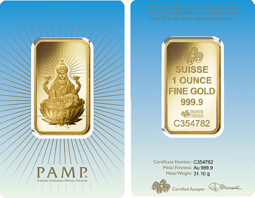 Pamp Faith Lakshmi 1 Ounce Gold Bar Features The Hindu Goddess Lakshmi This Bar Contains 1 Troy Ounce Of Gold Bullion Gold Investments Buy Gold And Silver