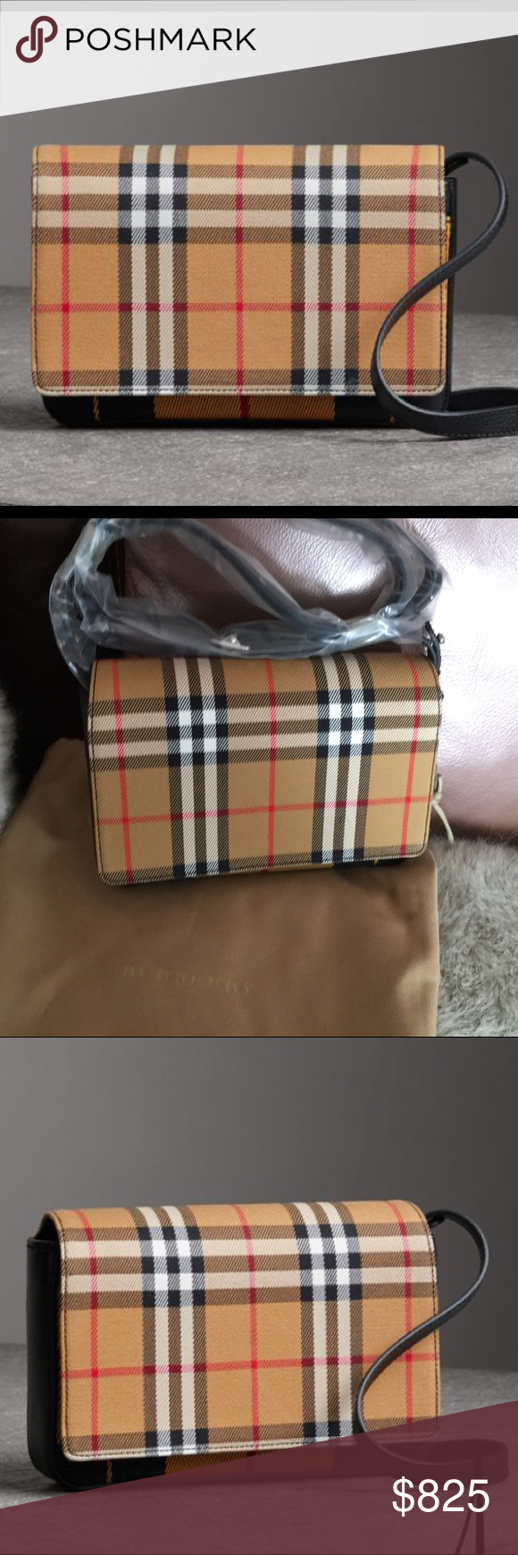 Burberry crossbody bag Authentic Burberry crossbody! Tartan mix Hampshire  wallet on chain Brand new with tags and dust bag Color  Antique  Yellow Black ... 4f2a5a506f5d4