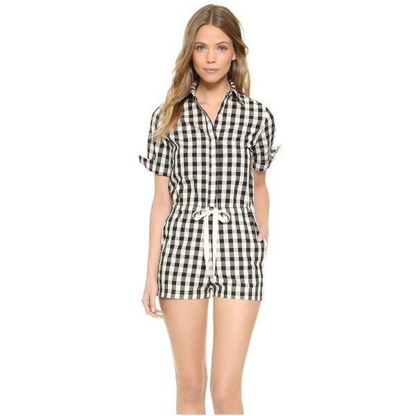 Solid & Striped The Romper ($265) ❤ liked on Polyvore featuring jumpsuits, rompers, black gingham, striped romper, striped rompers, playsuit romper and stripe romper