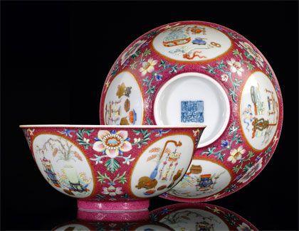 Famille rose bowls, Daoguang mark