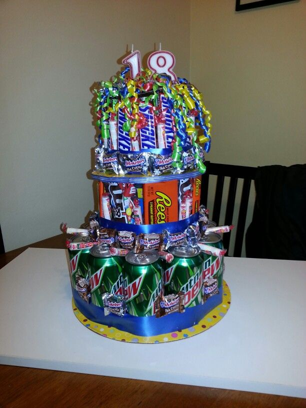Idea for a teens birthday cake of favorite candy and soda