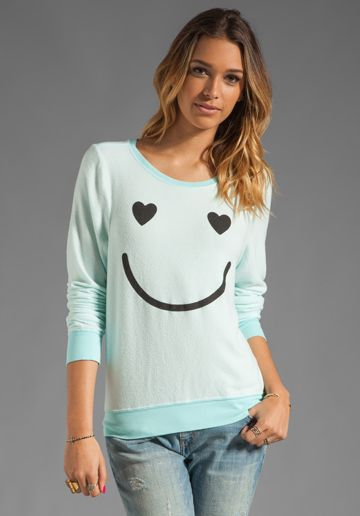 5a3bc718ab WILDFOX COUTURE Happy Smile Baggy Beach Jumper in Bleached Aqua ...