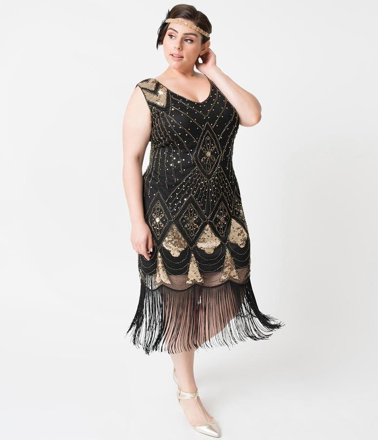 cb08e64e Unique Vintage Plus Size Black & Gold Sequin Lina Fringe Flapper Dress